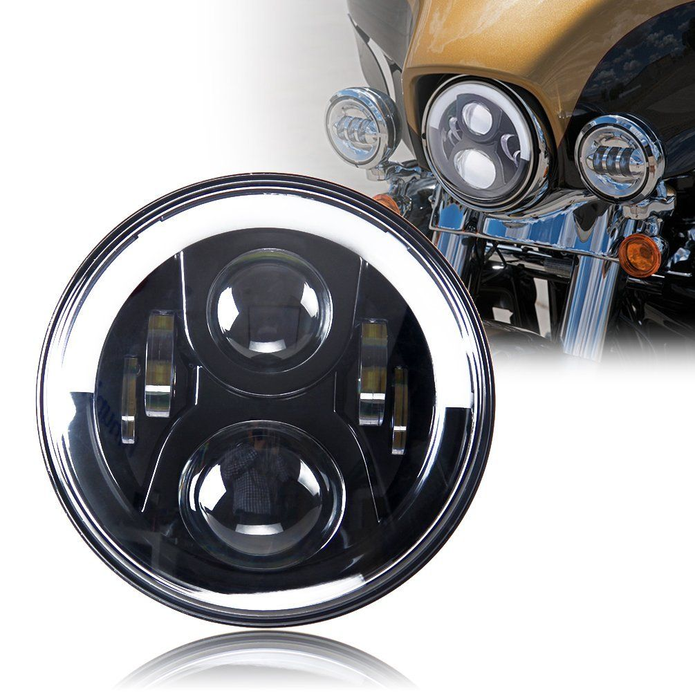 7 Led Headlight For Harley Davidson Motorcycle Chrome Projector Jeep Wrangler Light Bulbs Daymaker Hid Bulb