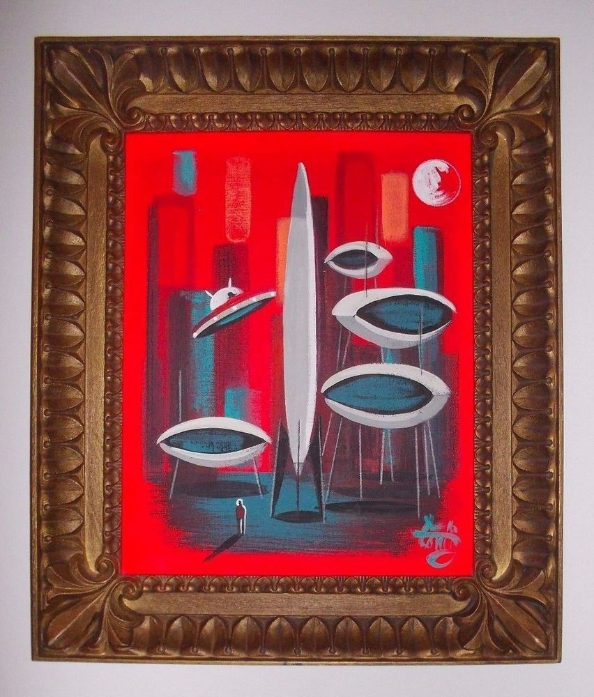 EL GATO GOMEZ PAINTING RETRO 60'S PULP SCI-FI SPACE MARTIAN ROCKET FLYING SAUCER #Modernism