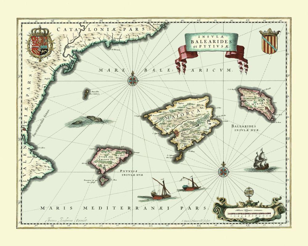 Vintage Wall Map Of The Balearic Islands Islasbaleares Majorca