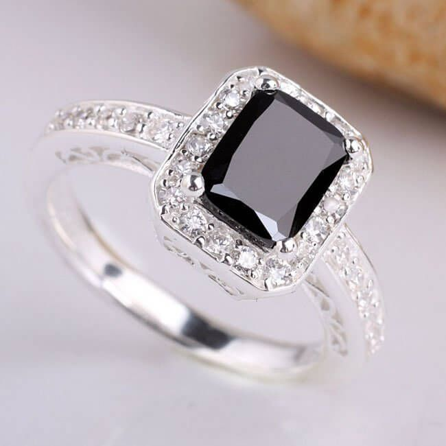 style antique ring yellow carat stone three black white diamond engagement vintage rings wedding handmade engraved gold