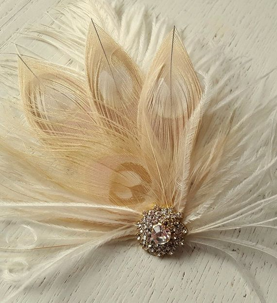 Ivory flower fascinator wedding hair comb Feathers /& seed beads UK Bridal