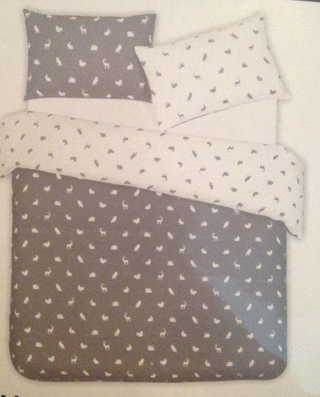Grey White Double Duvet Quilt Cover Bedding Woodland Rabbit Stag Deer Hedgehog Ebay Primark