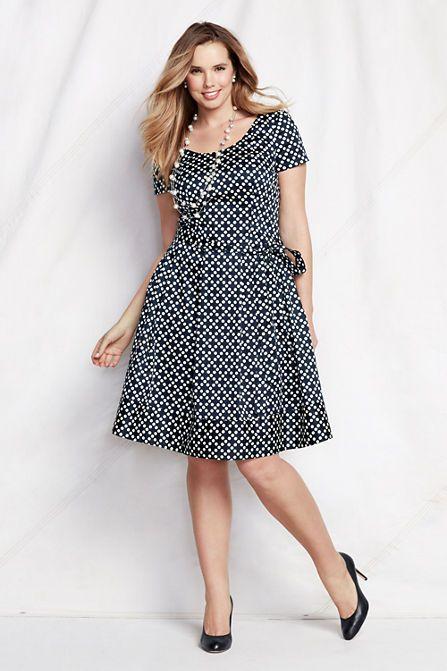 Womens Plus Size Short Sleeve Pattern Woven Stretch V Back Dress