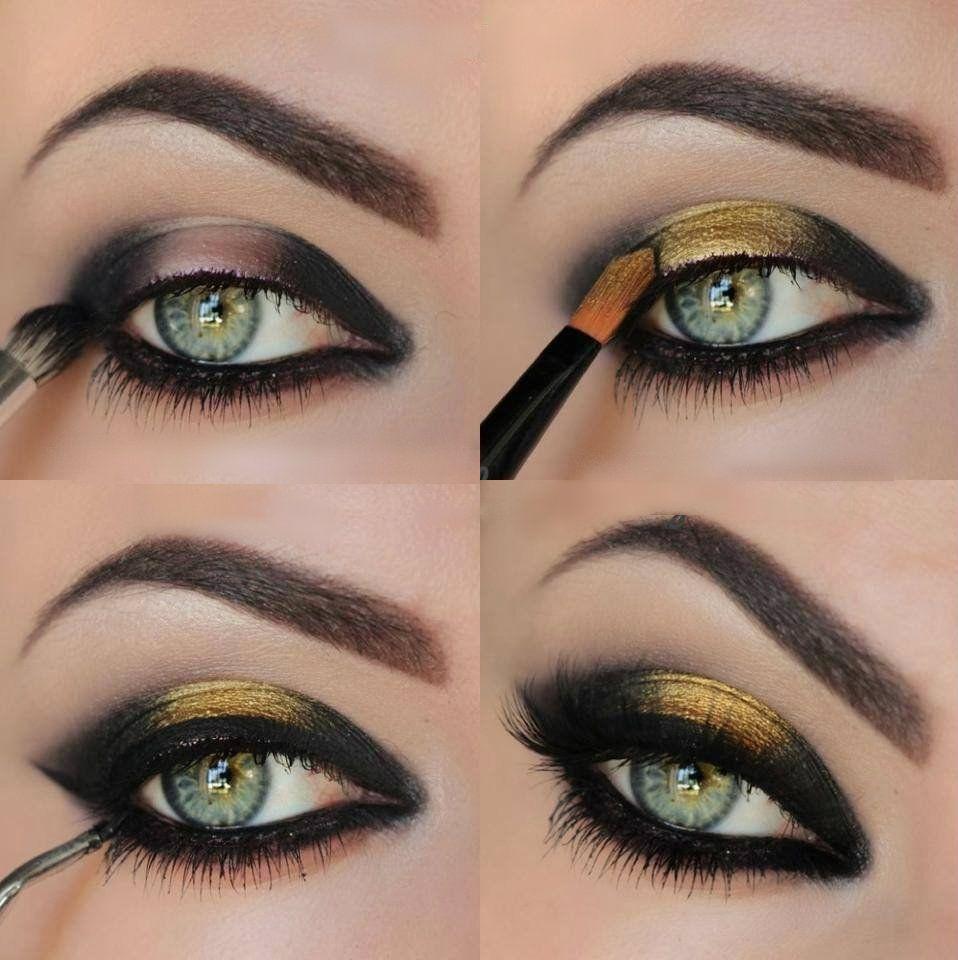 26 Easy Eye Makeup Tutorials Black And Gold Eyeshadow Gold