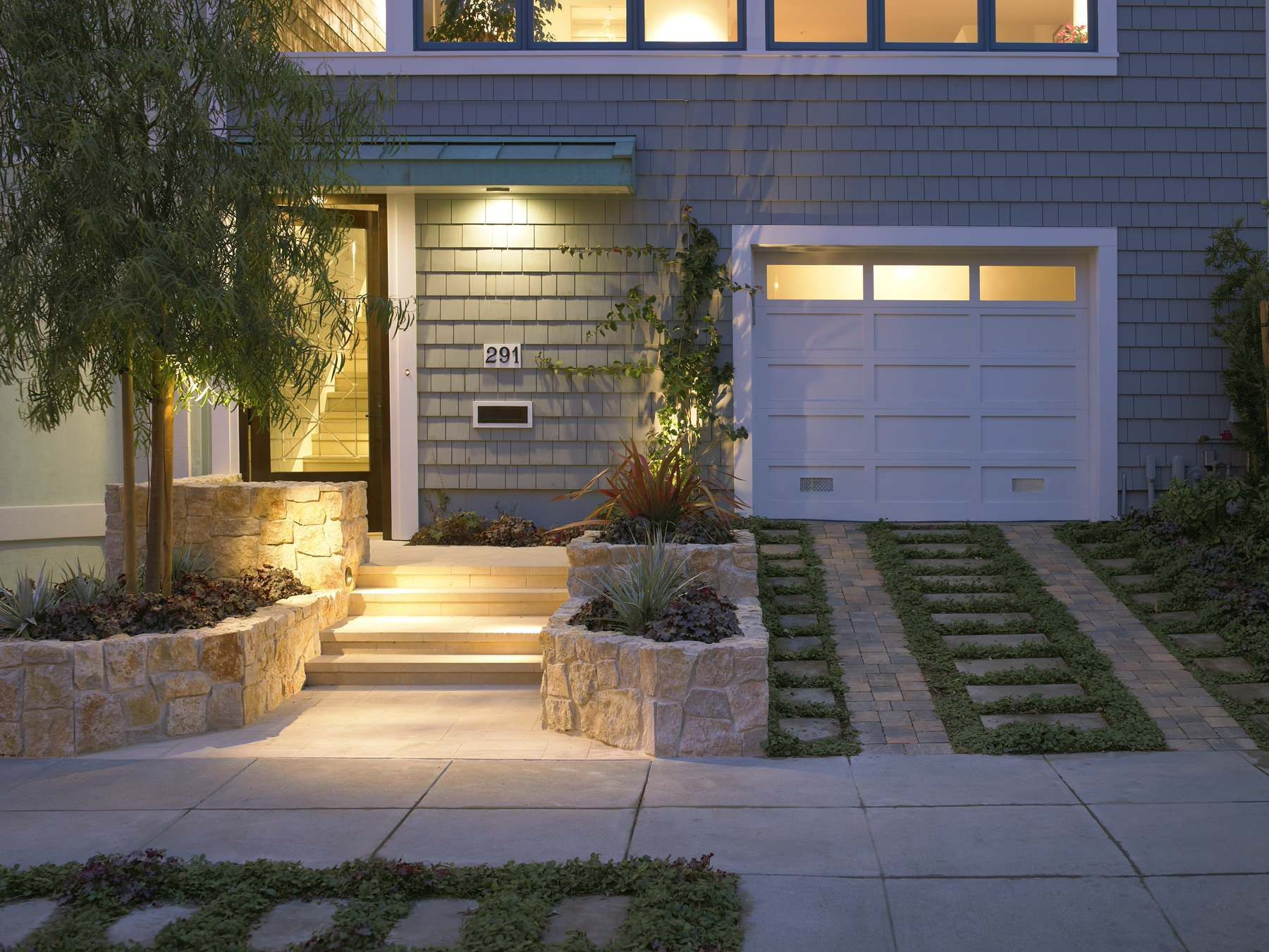 Beautify The Landscape And Your Home With Creative Driveway Ideas:  Traditional Exterior With Pavers And Slate Driveway Plus Greenery For  Driveway Ideas Next ...