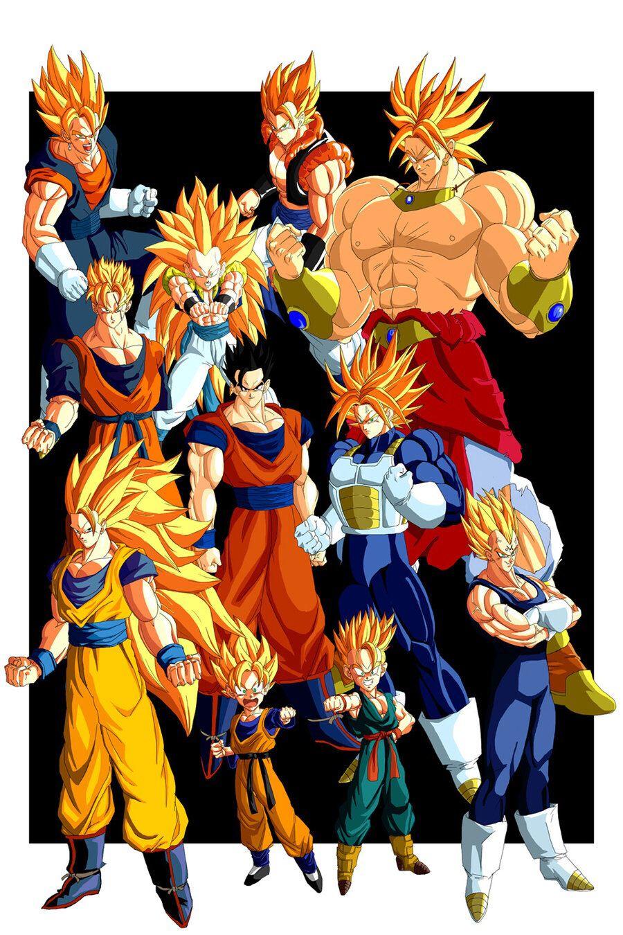 Goku Vegeta Broly Gohan Trunks Goten Gogeta Gotenks Vegito Future Gohan Amp Future Trun Dragon Ball Super Manga Dragon Ball Art Dragon Ball Artwork
