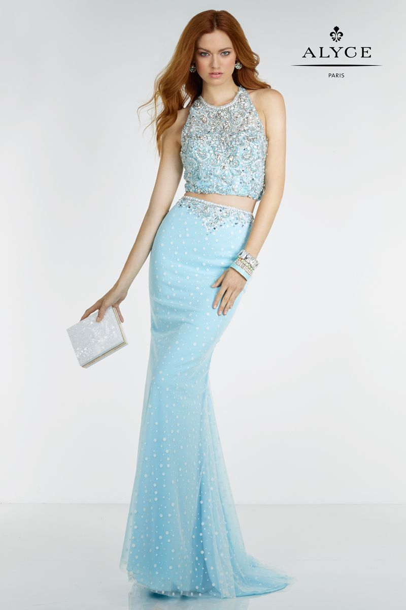 Alyce Paris two piece, blue prom dress. Style #6617 http ...