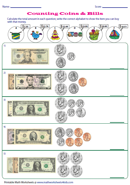 Counting U.S. Coins and Bills- Math worksheets 4 kids | SPED Math ...