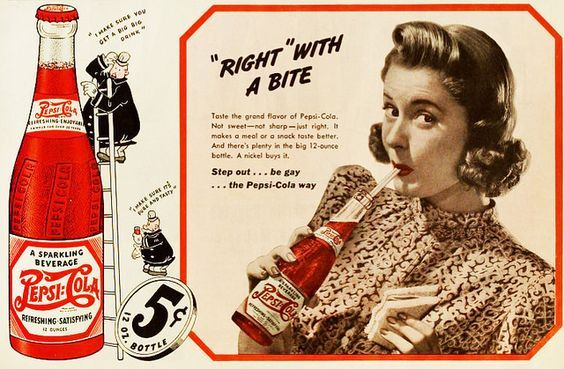 Resultado de imagen de anuncios pepsi cola 1940