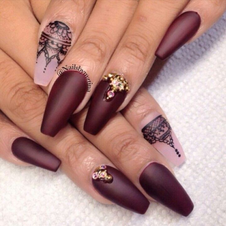 Matte Wine Red Squoval Acrylic Nails w/ Lace & Rhinestones ...