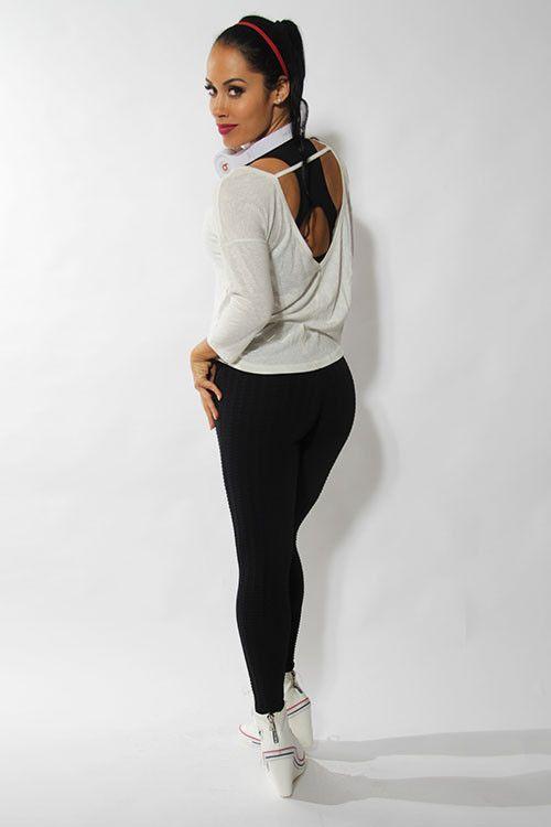 Xplode diamond textured leggings black