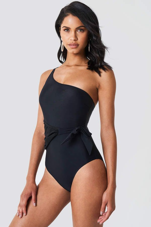 9bb3a3f964c2e One Shoulder Tie Waist Swimsuit | knowlo girls | Black swimsuit ...