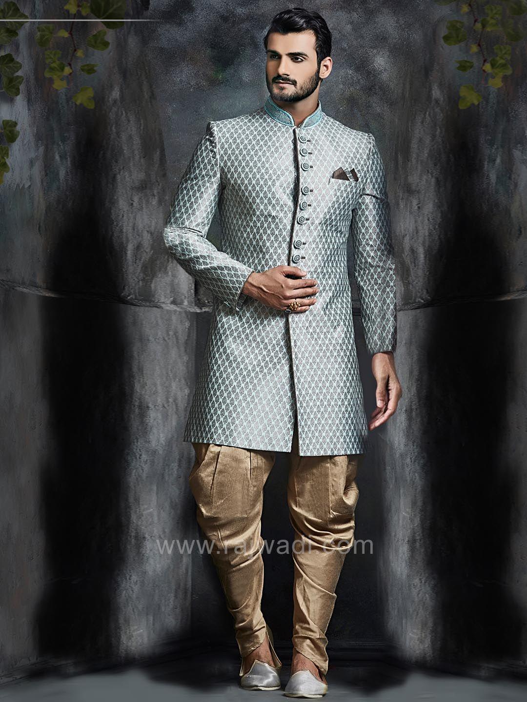 Brocade silk blue indo western rajwadi indowestern trendy