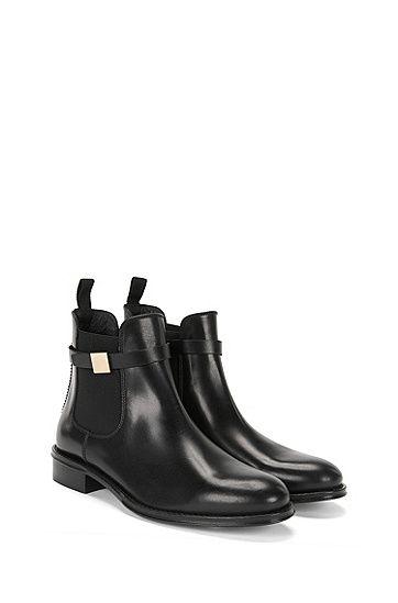 e04f71ba0e10 BOSS - Chelsea Boots aus Leder mit dekorativer Metallschnalle   Chelsea-H