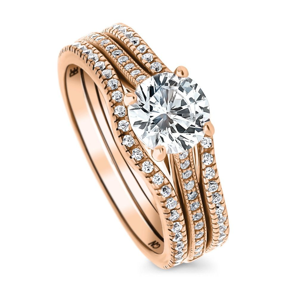 Rose Gold Plated Sterling Silver Round CZ Solitaire Ring