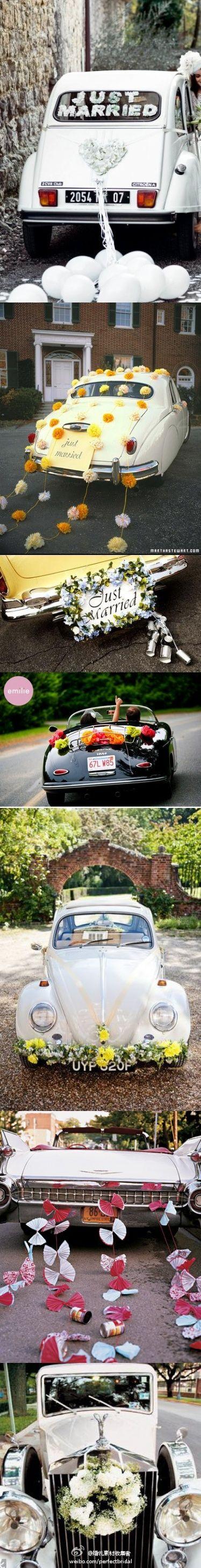 Wedding decorations on cars  Ideas