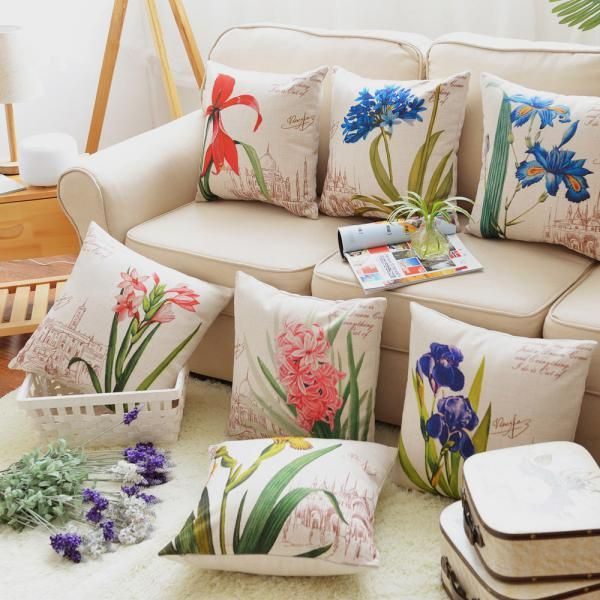 Decorative Pillows For Couch Part - 46: Flower Pillow Hand Painted Art Decorative Pillows For Couch