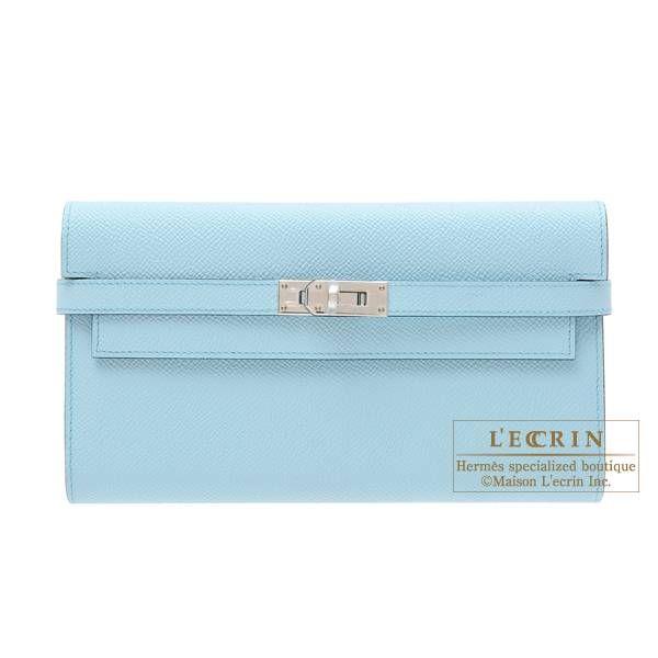 5acde670e43 Hermes Kelly wallet long Blue zephyr Epsom leather Silver hardware ...