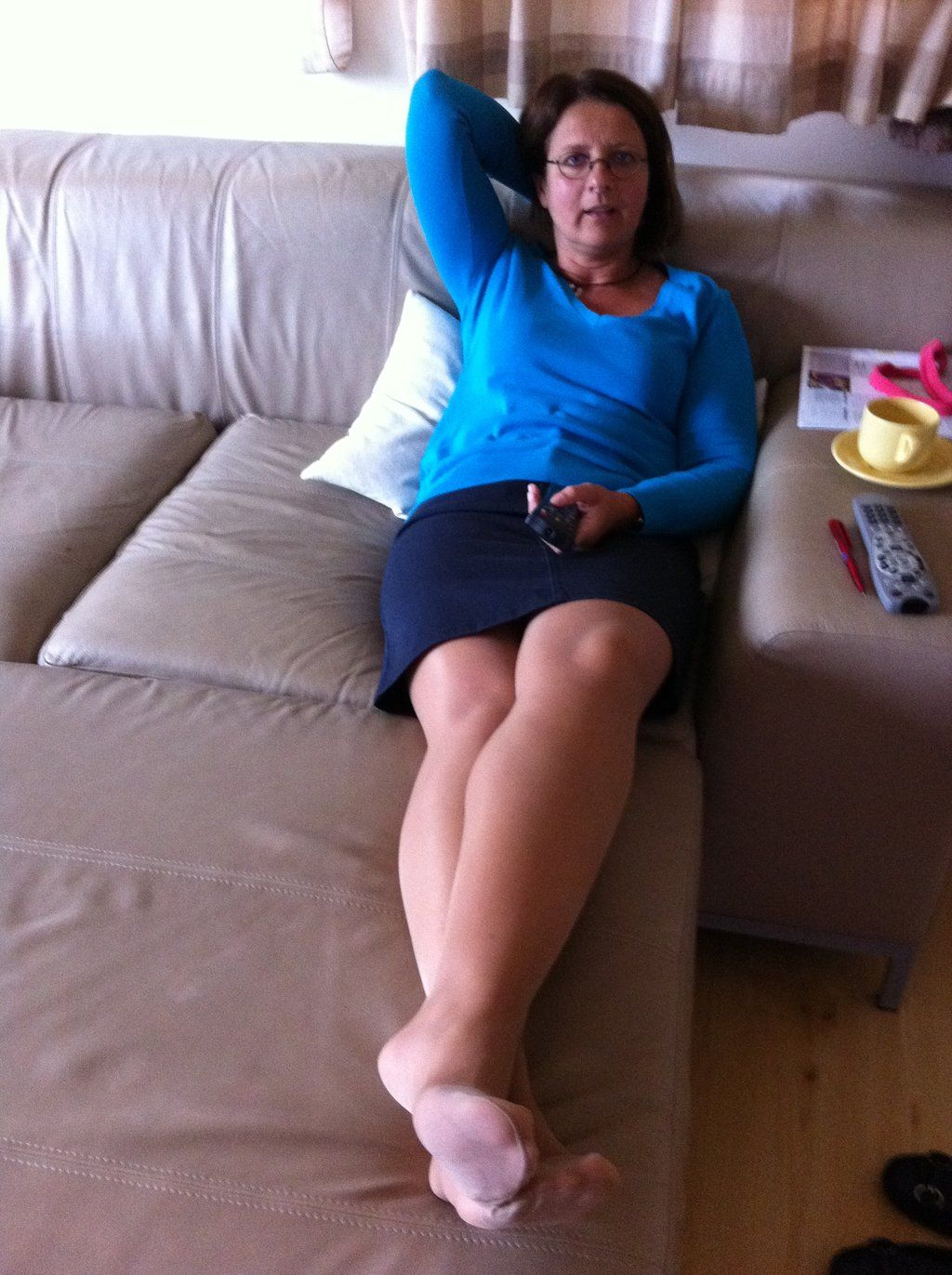 Hot Mature Lady Posting At Home In Tan Pantyhose Showing