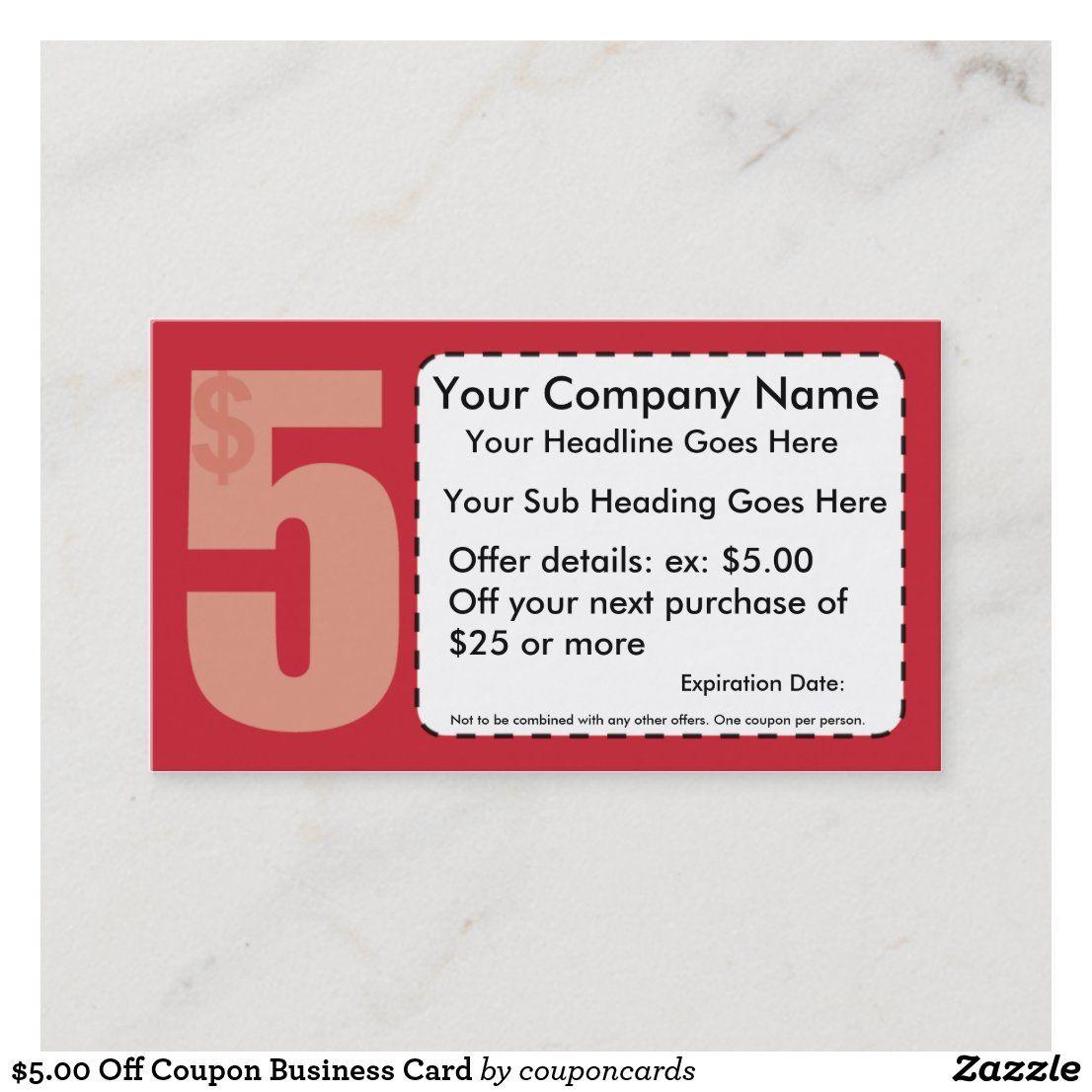 5 00 Off Coupon Business Card Zazzle Com Discount Card Standard Business Card Size Business Cards