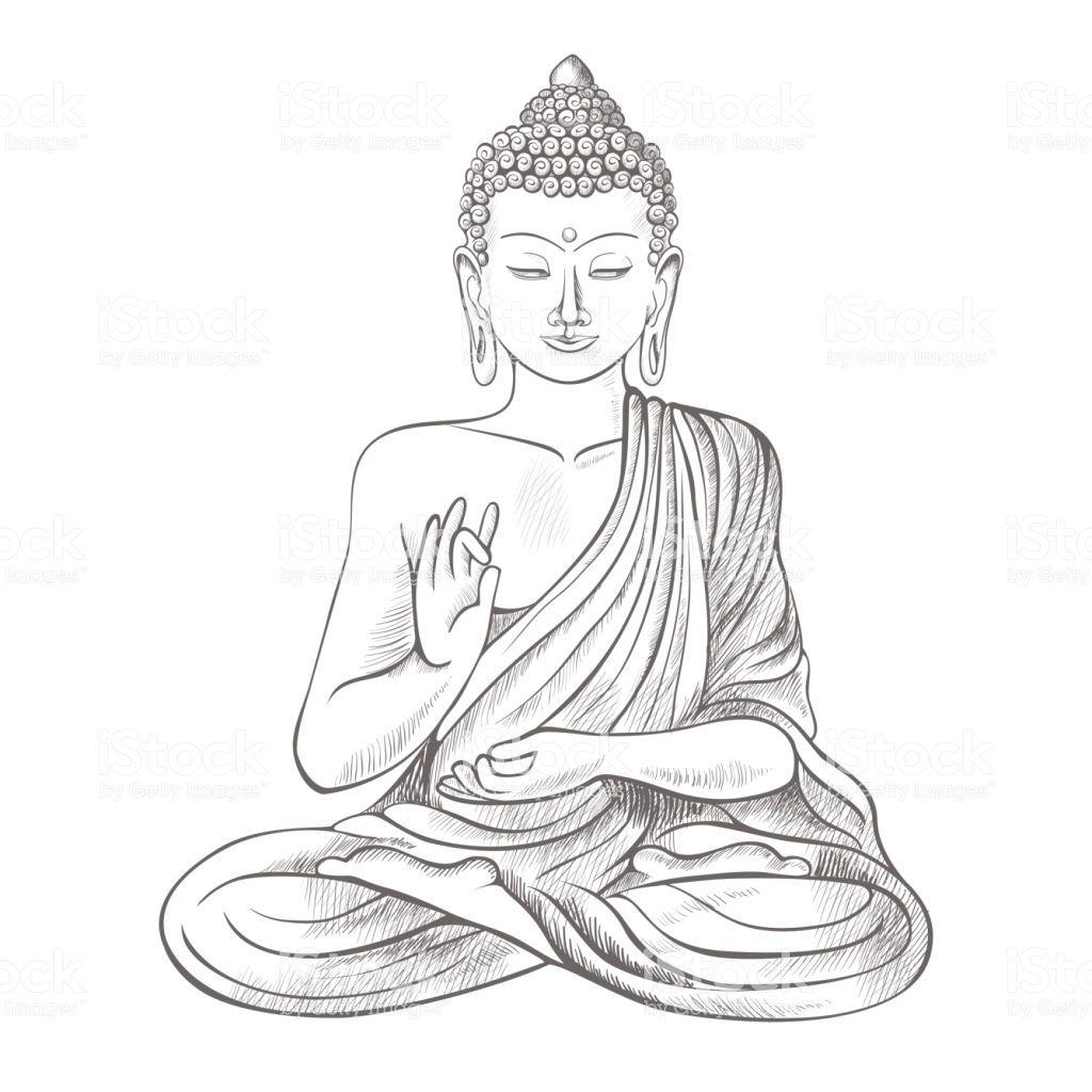 Photo of Gautama buddha with closed eyes and raised right hand, sitting and…