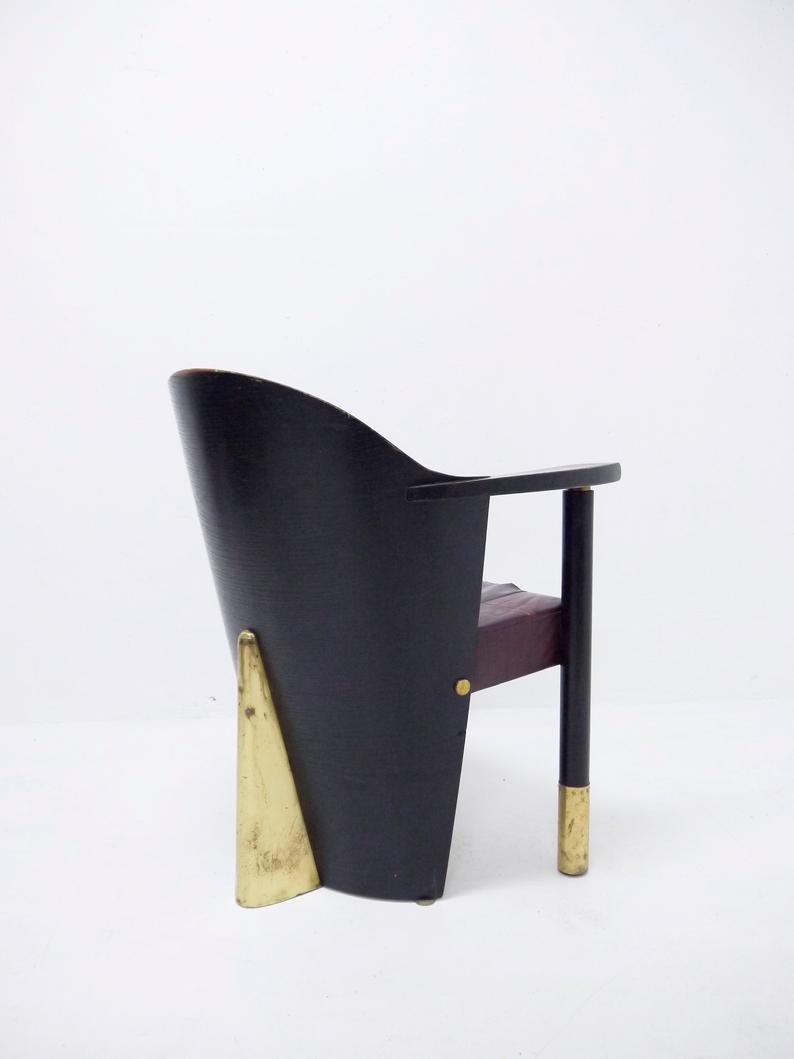 Reserved 1980 S Wooden Bistro Chair Black Matte Finish Etsy Red Leather Chair Bistro Chairs Wooden Armchair