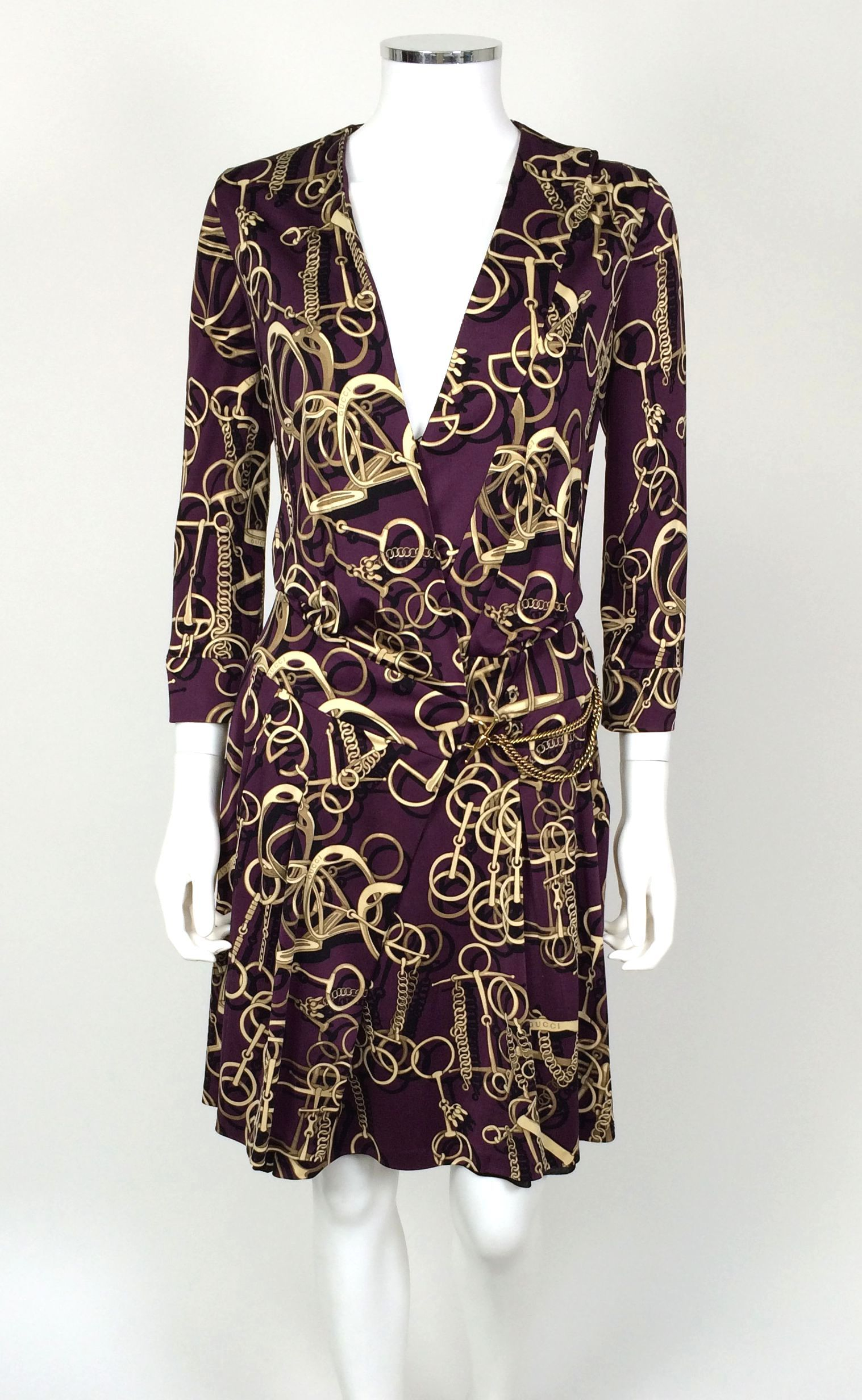 GUcci Purple Wrap Dress - Size 42 - Retail price $2,495 - Our price $570 - Sale supports Maccabi USA