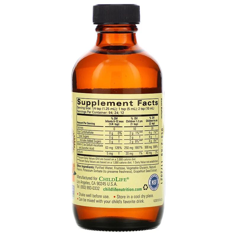Childlife Essentials فيتامين ج سائل نكهة البرتقال الطبيعي 4 أونصات سائلة 118 5 مل Liquid Vitamins Vitamins Vitamin C