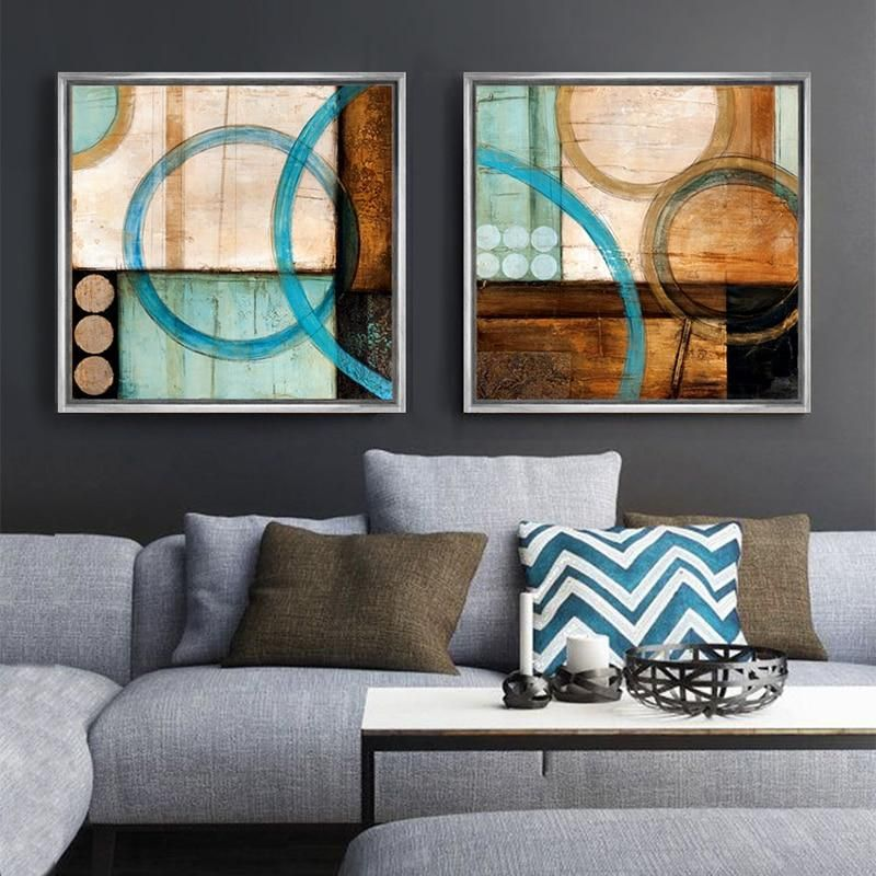 Blue Brown Circles Canvas Art In 2020 Abstract Styles Circle