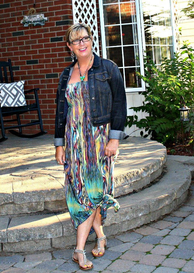 colourful maxi and a denim jacket to help celebrate labour day