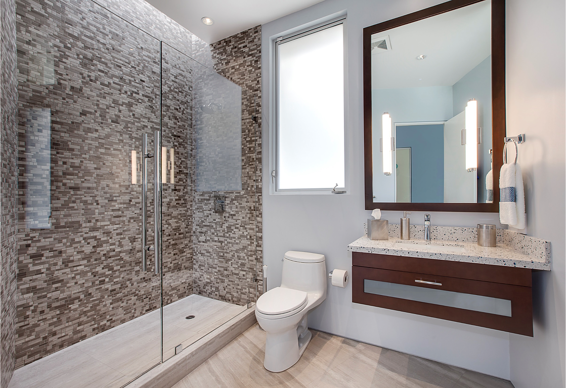 Pic Of Unique bathroom interiors that feature boldly patterned wallpaper mosaic tiling and natural materials