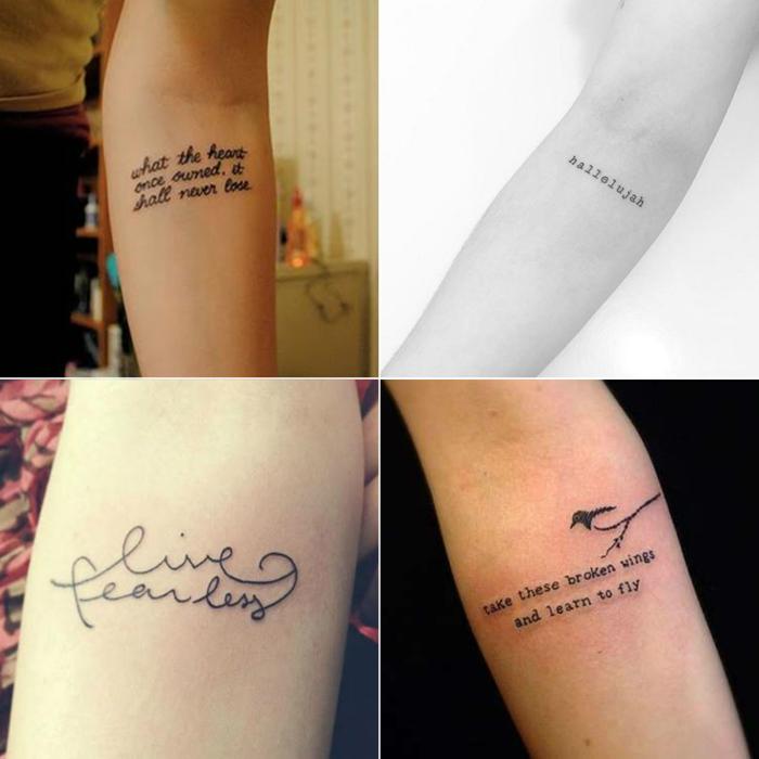 Tatuagem, tatuagem no antebraço, tatuagem feminina, tatuagem no braço, tattooo, tatuagem de frase, fonte cursiva, tipografia, fonte maquina de escrever, liberdade, pássaro, live fearless, hallelujah