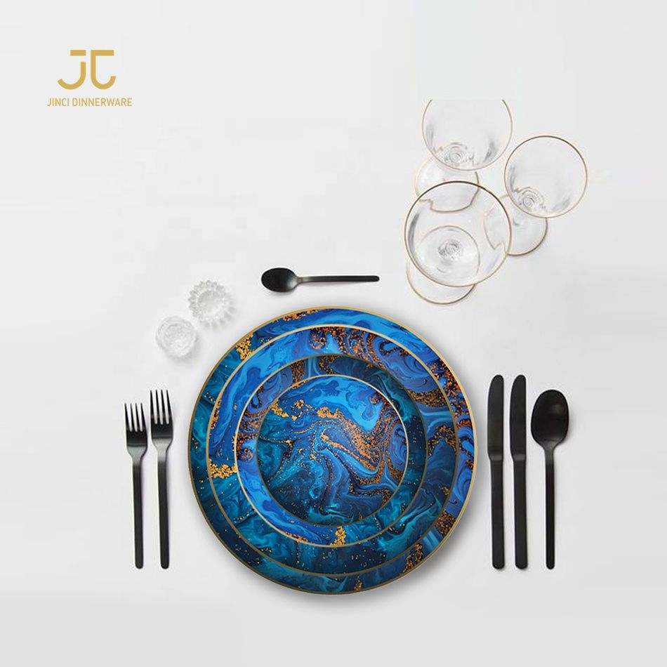 Wholesale New Design Fine Bone China Dinnerware Sets 10 5 Inch Blue Marble Ceramic Dinner Plates With Gold Rim Buy Dinner Plates Ceramic Dinner Plates Wholesa With Images