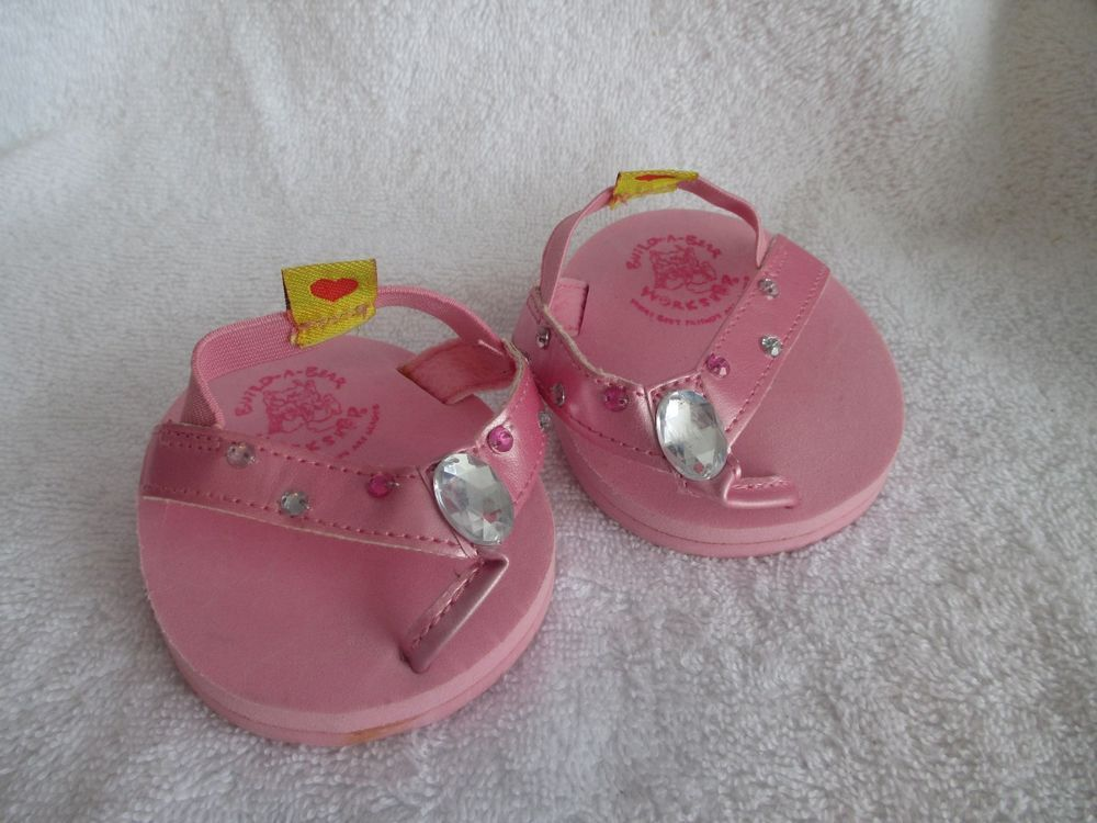 Build A Bear Workshop Sandals Pink Rhinestones Shoes BABW