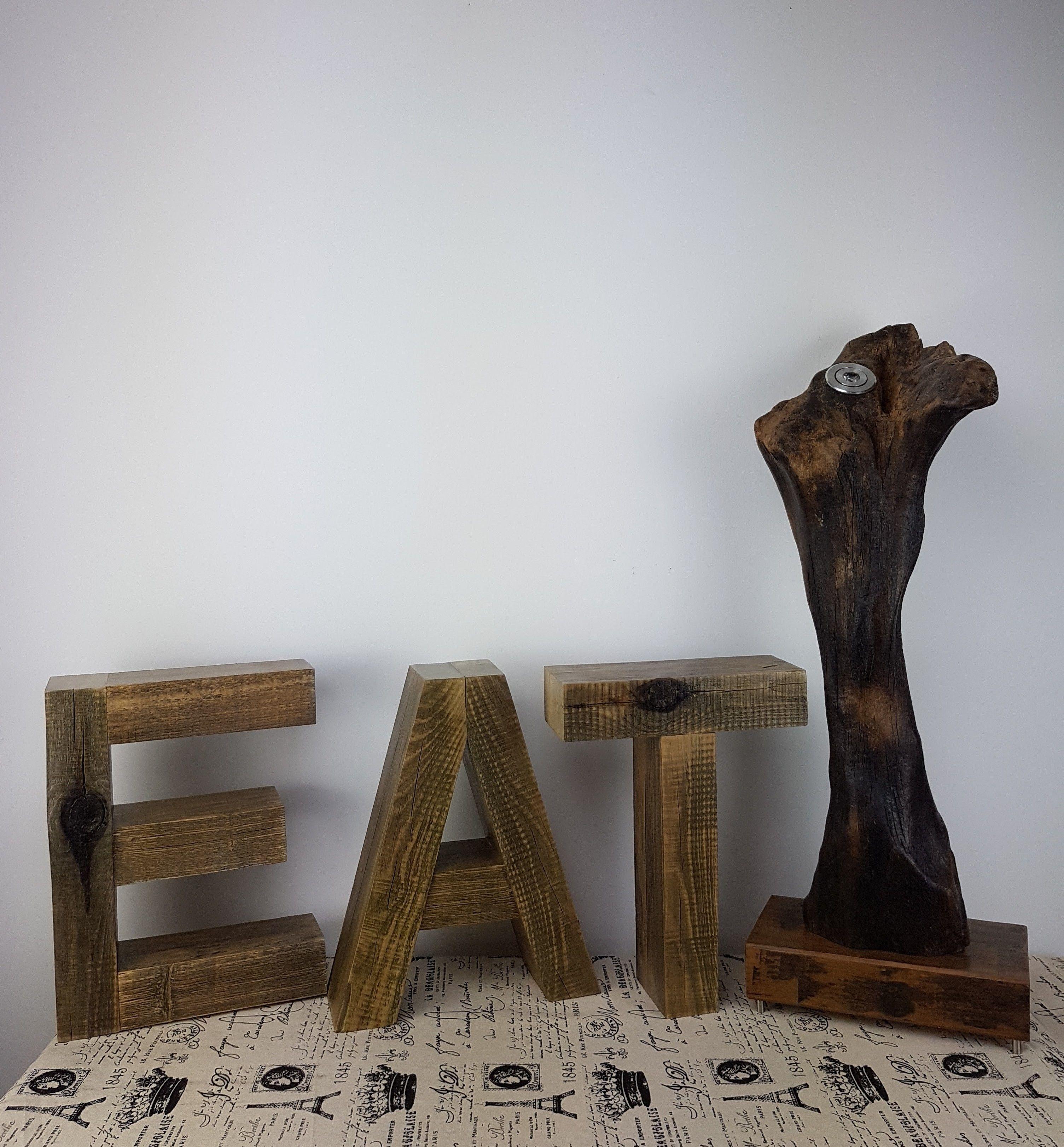 Deko Regal EAT oder TEA, Holzbuchstaben, Einzelstück, Unikat, Wand ...