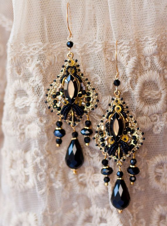 Black Gold // Vintage Inspired Haute Couture Hand by lagoadesigns, $79.00