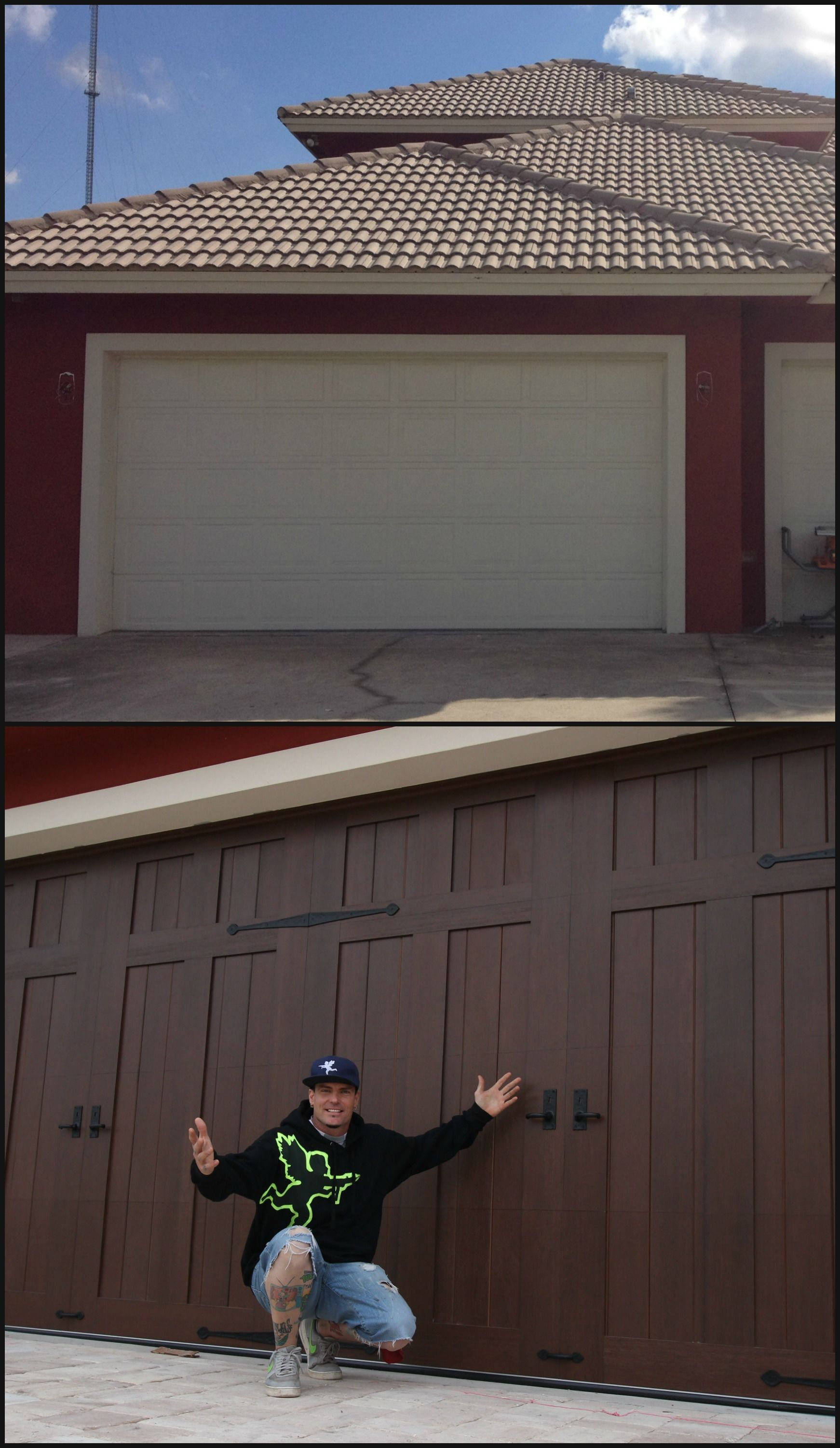 Faux wood painted garage doors - Garage Door Makeover Vanilla Ice Chose Clopay Canyon Ridge Collection Faux Wood Carriage Style Garage