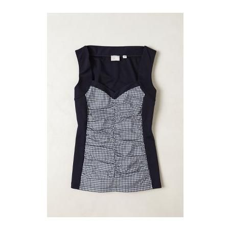 ANTHROPOLOGIE RUCHED GINGHAM TANK BY NAVY DRESSY-TEES