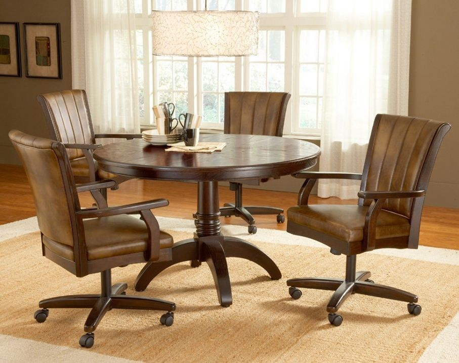 Dining Chairs With Casters Swivel Enter Home Round Dining Room