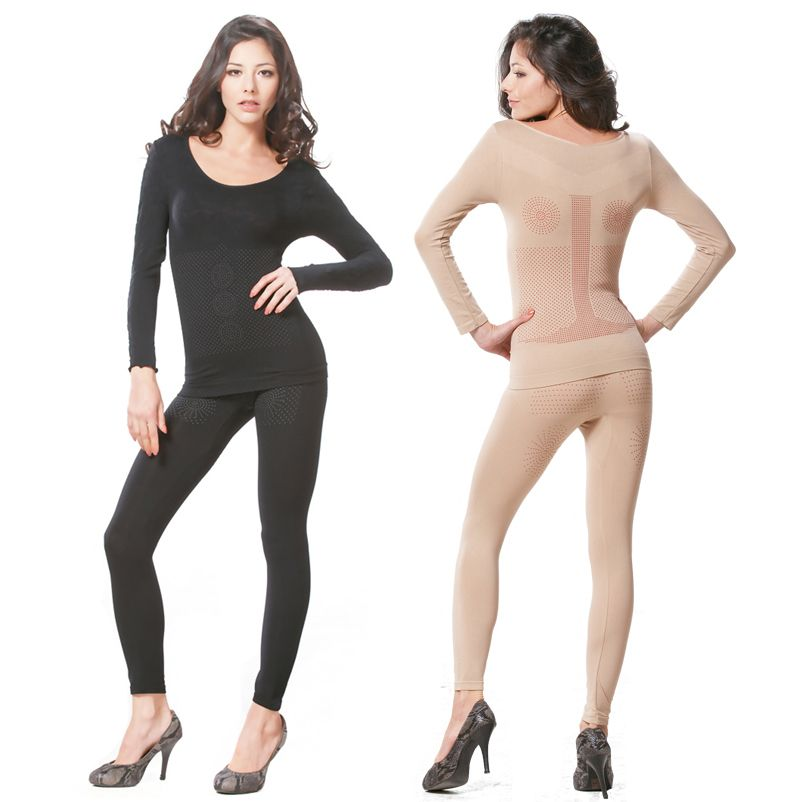 ce242677c Set of 2 Long Johns Far Infrared Rays Seamless Thermal Underwear Body  Slimming Shaper Long Sleeve Top and Bottom-Body Shapewear-Franato Women  Seamless ...