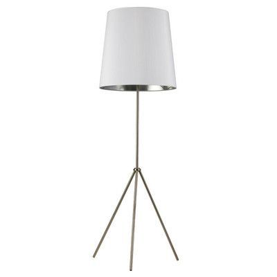 "Radionic Hi Tech Odum 66"" Tripod Floor Lamp Shade Color: White/Silver, Base Finish: Satin Chrome"