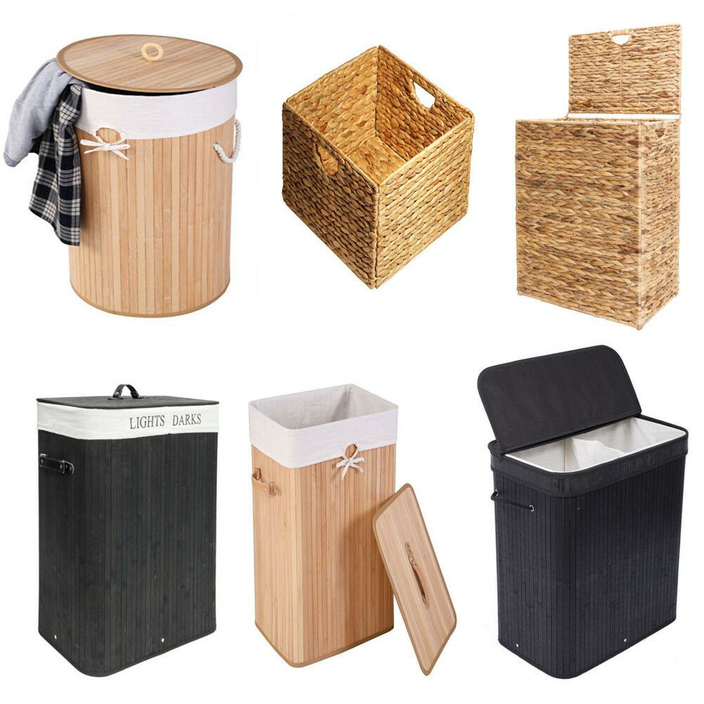Details About Bamboo Hamper Laundry Basket Sorter Washing Cloth Bin Storage Bag Lid Household In 2020 Hamper Storage Laundry Hamper Storage Bins