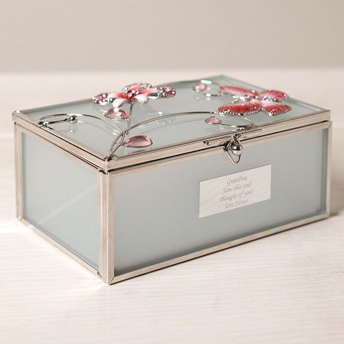 engraved butterfly glass trinket box