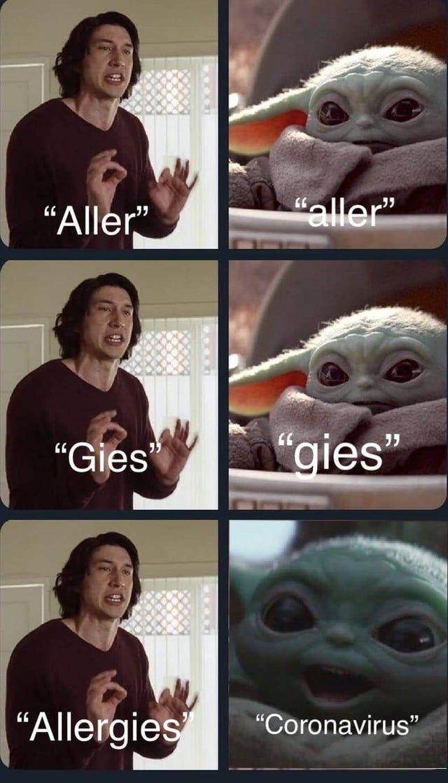Allergies Babyyoda Yoda Funny Really Funny Memes Funny Star Wars Memes