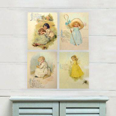 Vintage Nursery Rhyme Wall Art Print