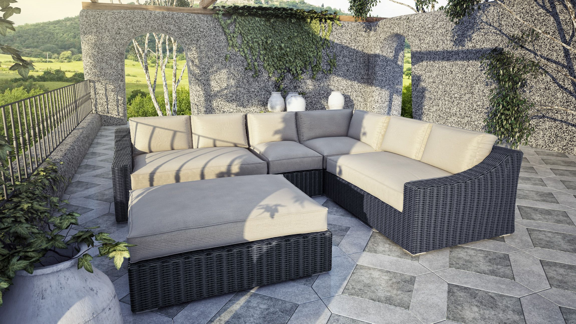 Tuscan Sectional Set Includes Left Arm 56 X41 X28 Right Arm 56 X41 X28 Corner 41 X41 X28 Middle 25 X41 X28 Furniture Outdoor Sectional Sofa Patio Chairs