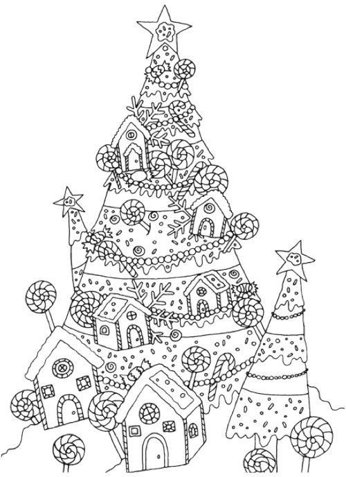 Hard Christmas Tree Coloring Page in 2020 | Christmas ...