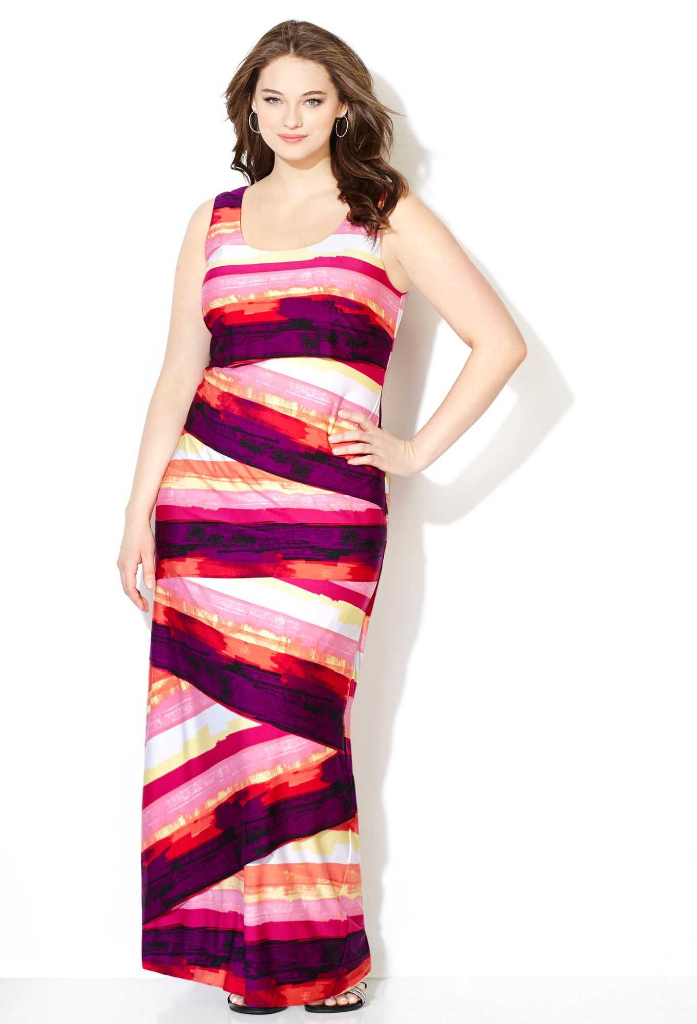 81edcc9a5ca Avenue Plus Size Pink Watercolor Bandage Tiered Maxi Dress