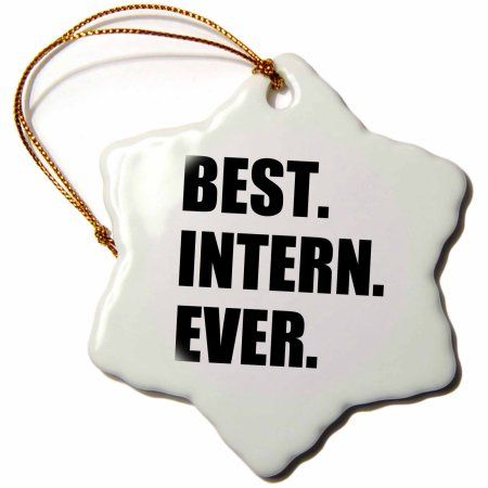 3dRose Best Intern Ever - fun appreciation gift for internship job - funny, Snowflake Ornament, Porcelain, 3-inch