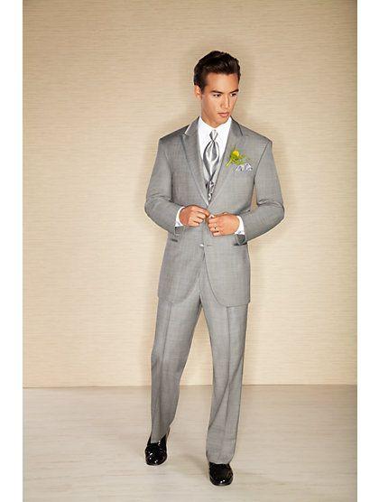 Check out this Calvin Klein Two-Button Gray Super 110s Satin Edge ...